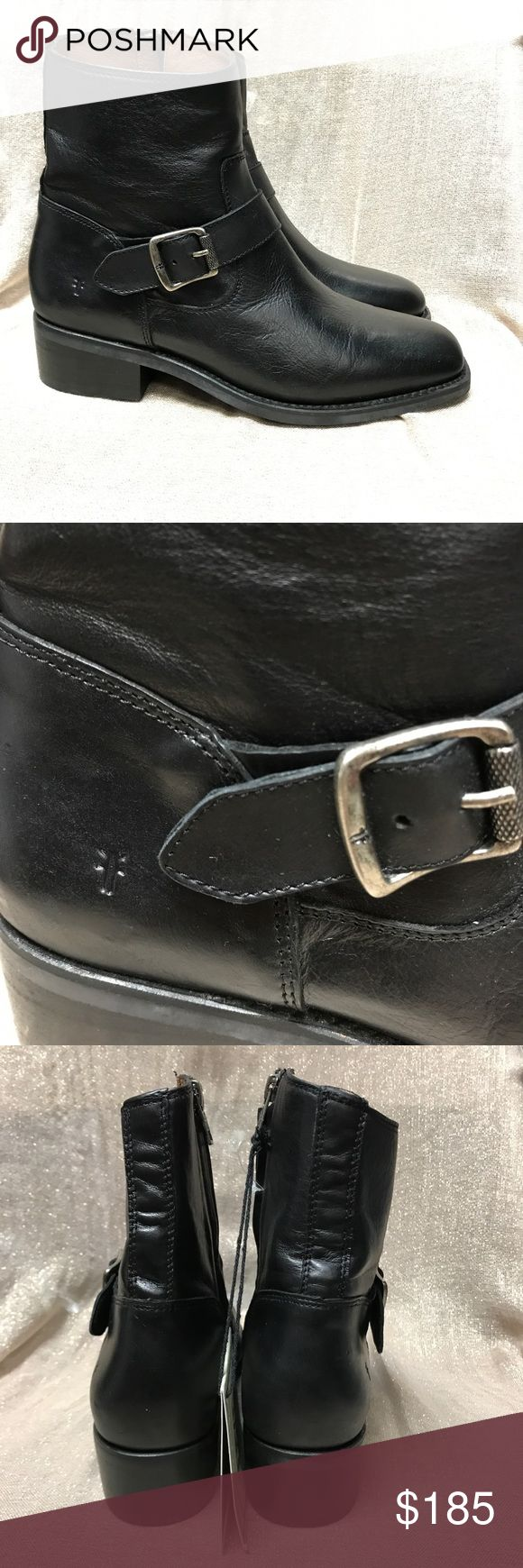 """Frye Hannah Engineer Boot Details Antiqued buckle hardware defines a soft leather boot with a signature embossed logo at the heel.  Sizing: True to size.  - Square toe - Buckle strap detail - Side zip closure - Lightly padded insole - Block heel - Approx. 6"""" shaft height, 10.5"""" opening circumference - Approx. 1.5"""" heel - Imported.  No box included Frye Shoes"""
