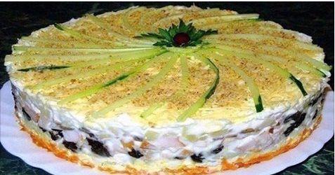 Салат «Торт № 1 в мире» действительно имеет такое название, а придумали его повара, которые готовили для кремлевских деятелей советской эпохи. У салата отменный гармоничный вкус и привлекательный вид. Ингредиенты: куриное филе отваренное — 400 (около 600 г свежего) 150 г чернослива 2 отваренные морковки 100 г ядер грецких орехов 4 яйца 3 сваренные картофелины …
