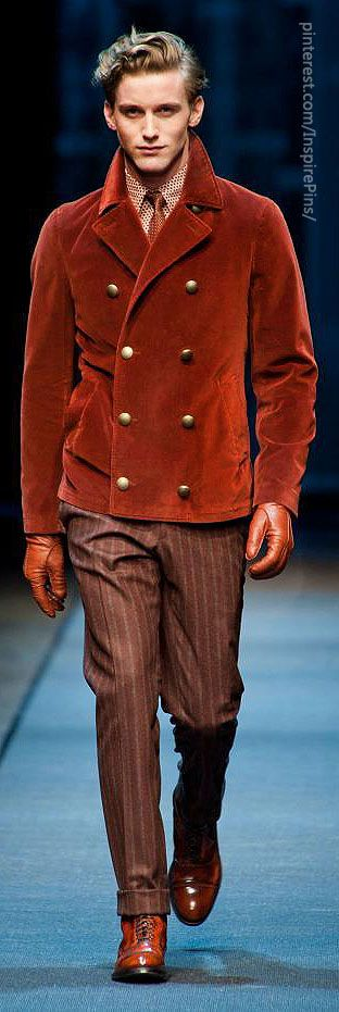 Canali fall 2013 men's - I do love this coat but few men could pull it off.