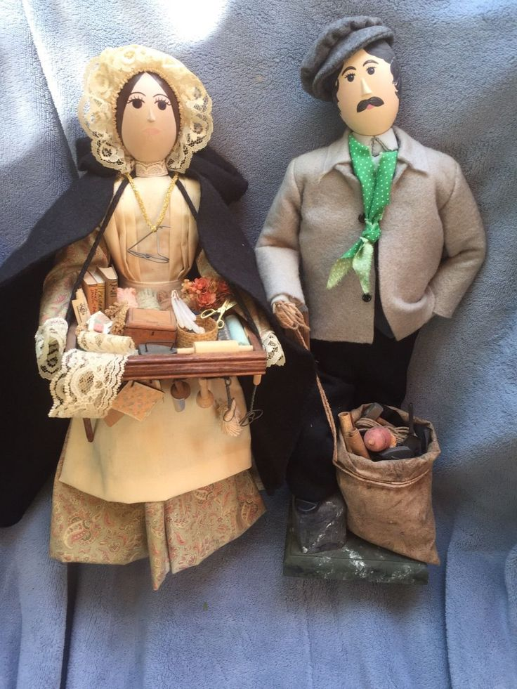 Offering this pair of awesome handcrafted dollars a man and a woman there's intricate detail and the small minute pieces in her basket are just amazing he appears to me to be a peddler I'm calling him at Picker and he's gathering things that then she turns around and sells the woman is signed under her skirt maree Costello 1992 | eBay!