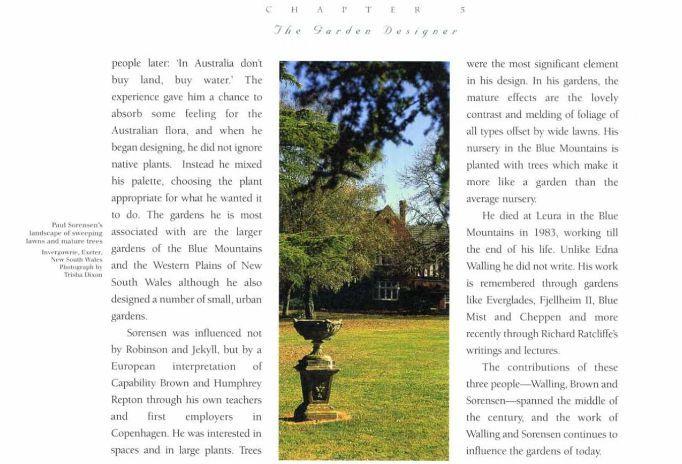 entry on Paul Sorensen, Australia's Timeless Gardens  By Judith Baskin, Trisha Dixon