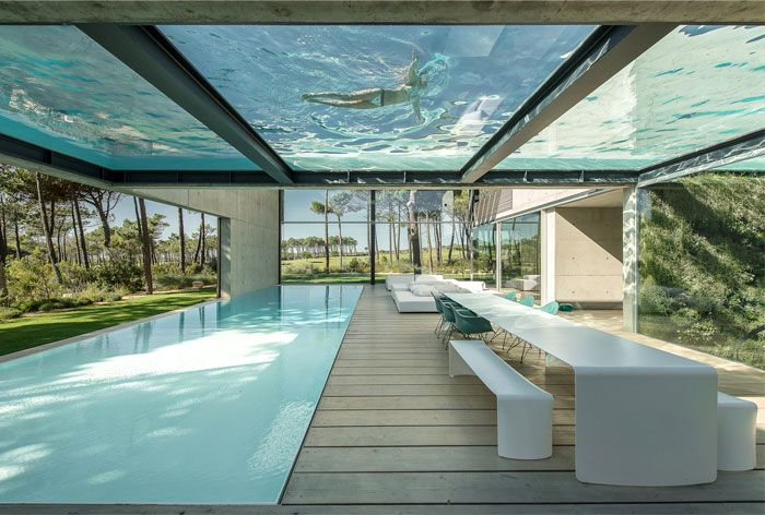 Rooftop Swimming Pool Experience In A Luxurious Modern House Glass Bottom Pool Architecture Modern Pools