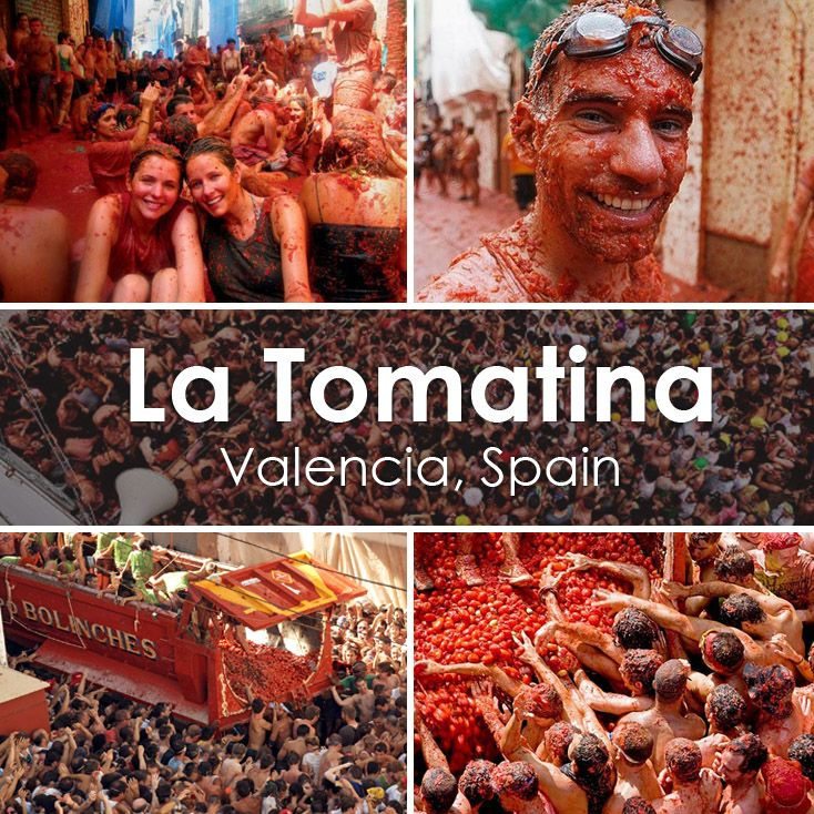"The famous ""La Tomatina"" - the worlds biggest tomato fight close to Valencia, Spain! Happens in August"