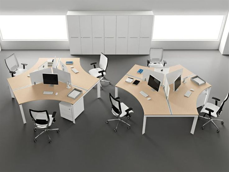 Modern office design with open space office layout for Office desk layout ideas