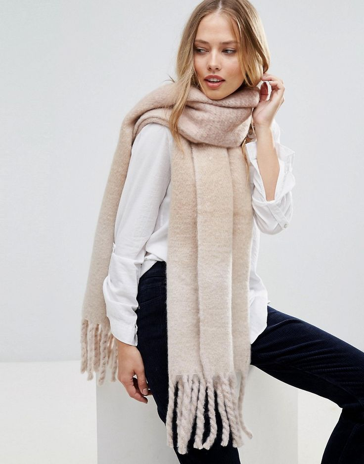 Get this Yumi's scarf now! Click for more details. Worldwide shipping. Yumi  Monochrome Block Scarf with Tassel Detail - Multi: Scarf by Yumi, Soft  wool-mix ...