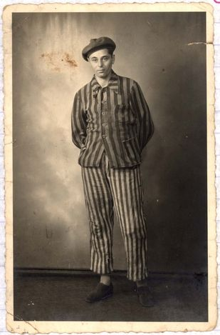 A photograph of Emil Menachem Langer (the grandfather of the submitter Cheim Langer) in prisoner uniform.