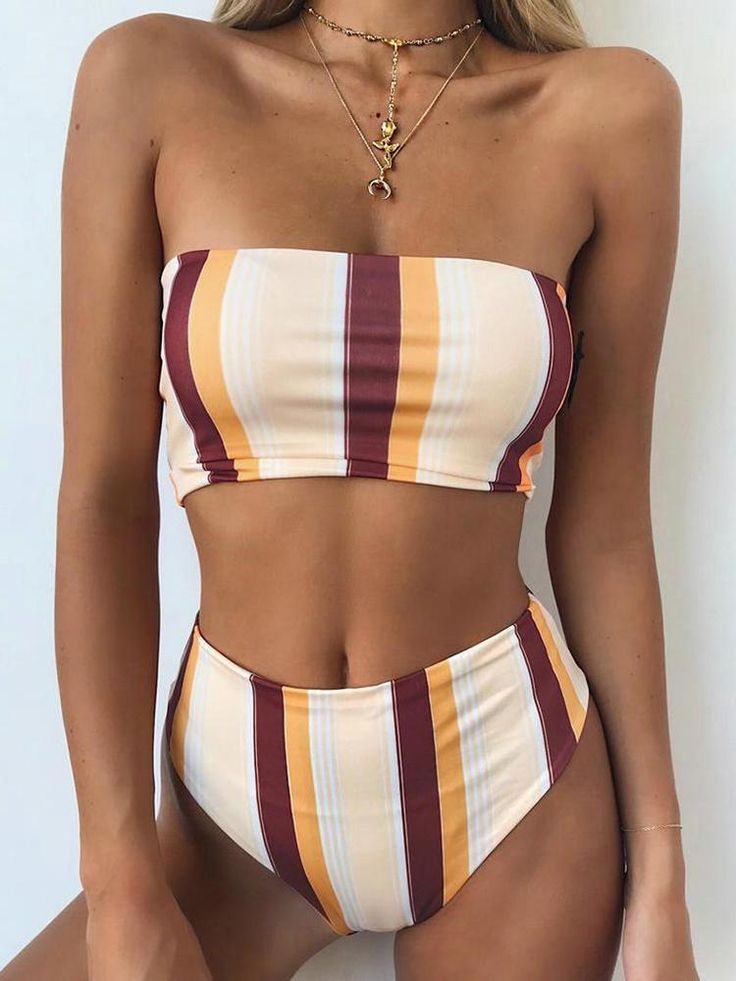 Contrast Striped High Waist Tube Bikini 17