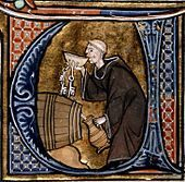 Monastic cellarer tasting wine, from Li Livres dou Santé (French ms, late 13th century)