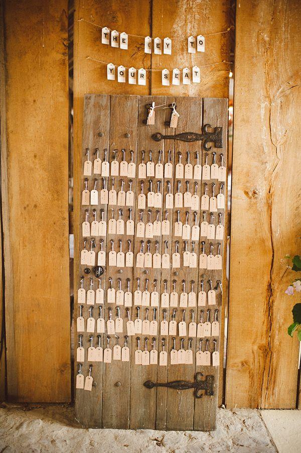 Une clé contre une place.... Plan de table mariage original