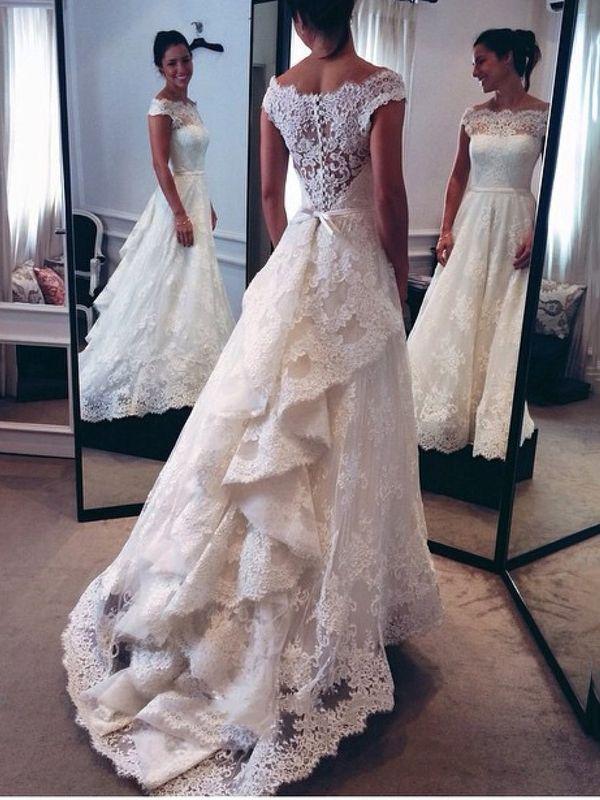 Cheap Wedding Dresses Bateau A-Line Lace