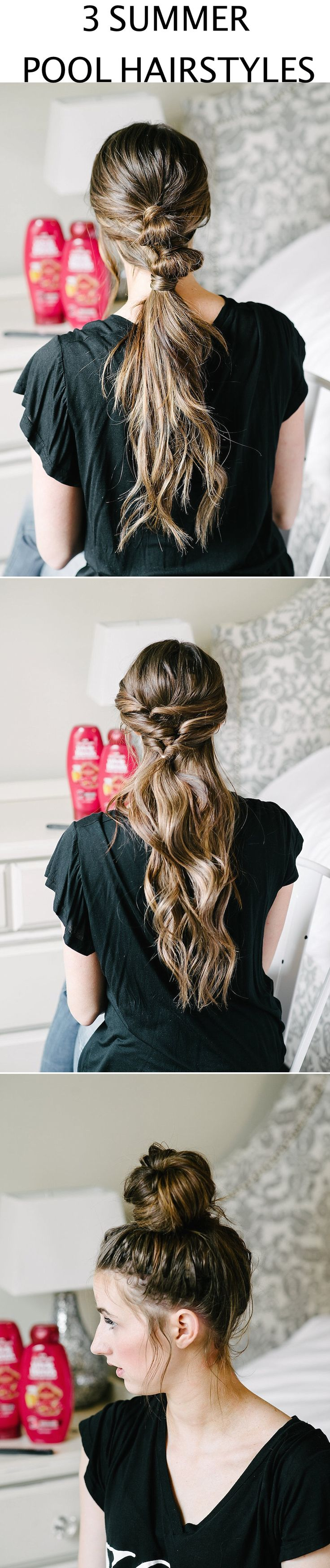 3 Easy Summer & Pool Hairstyles with tutorials for long hair. Come see how I make my favorite braid, favortie bun, and favorite pony for when hanging out at the pool this summer. #WholeBlends #ad