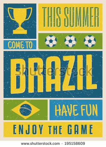 Retro design poster in bright yellow, blue and green, visit Brazil concept.
