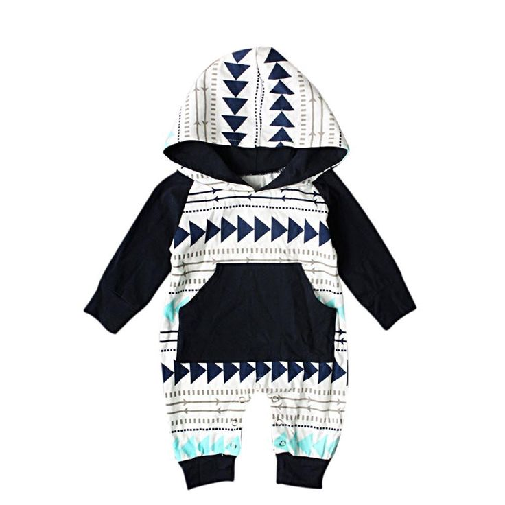 Let Baby boy stand out in this Cotton blend navy, teal, & beige romper featuring an adorable geometric arrow print and easy access diaper snap legs.
