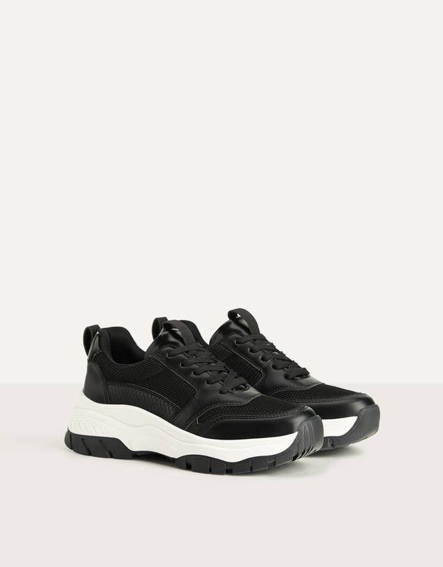Contrast Mesh Trainers Shoes Bershka Spain All Black Sneakers Black Shoes Shoes Trainers