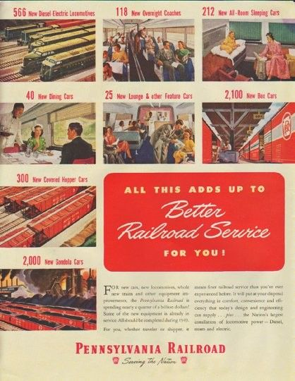 """1948 PENNSYLVANIA RAILROAD vintage print advertisement """"Better Railroad Service"""" ~ All This Adds Up To Better Railroad Service For You! Pennsylvania Railroad ... Serving The Nation ~"""