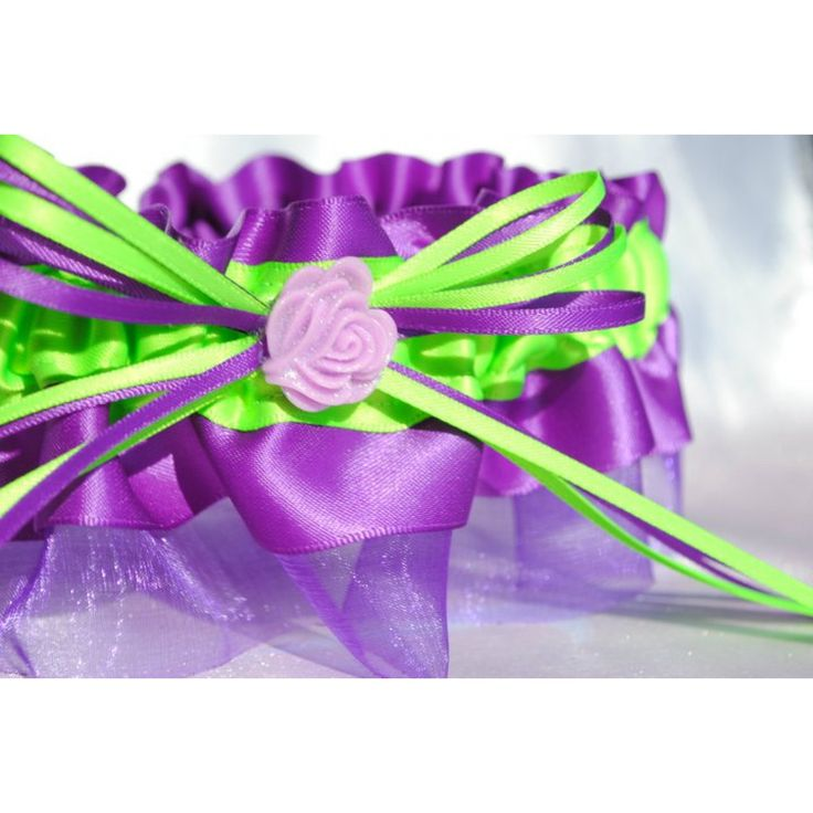 purple and lime green wedding | Purple and Lime Green Rose Garter