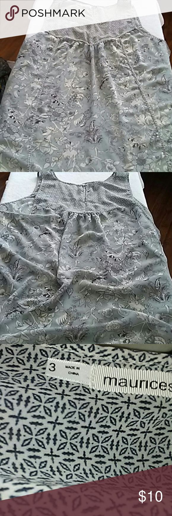 """MAURICES PLUS SIZE SHEER SLEEVELESS BLOUSE!!!! Beautiful gently used sheer sleeveless blouse from MAURICES!!!!  This ?? % polyester blouse is ready for super cool casual or can be dressed up!!!  Cool and comfy with an array of colors that can match Grey black white or even a light blue!!!  Measurements--  armpit to armpit is 19"""" approx 33""""long!!!!!  Any questions feel free to ask! I LOVE ANY OFFER OR BUNDLE DON'T HESITATE TO ASK!!! Maurices Tops Blouses"""