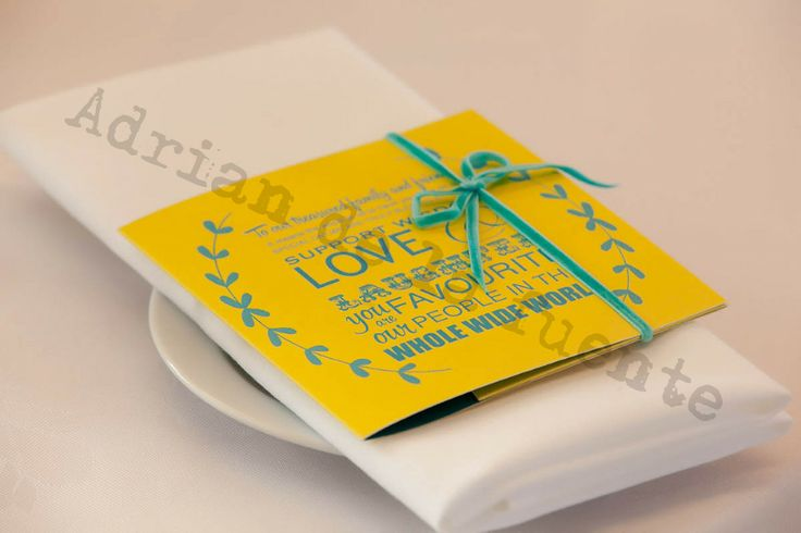 CD, Favours, thank you message, blue & yellow