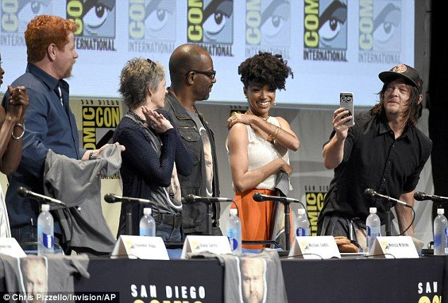 Motley crew: Several of the cast were on hand during a panel at Comic-Con International on...