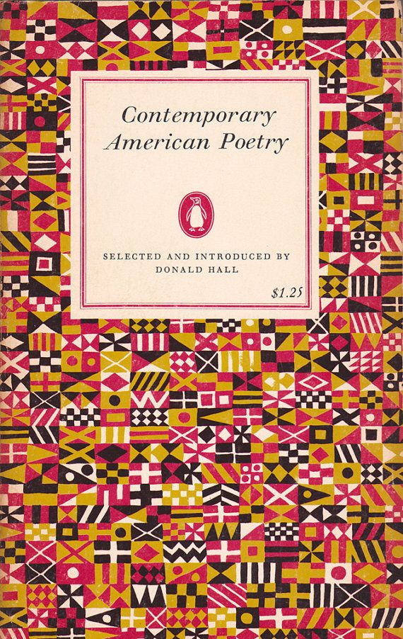 Contemporary American Poetry (Penguin) selected and introduced by Donald Hall Graphic Design Color Palette Pink Orange