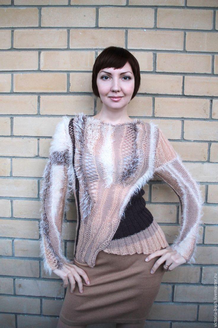 """Купить Авторский пуловер """"Печенье в шоколаде"""" - бежевый, абстрактный, коричневый цвет, шоколадный цвет"""