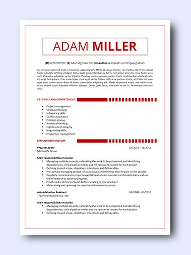 Red Minimal | remarkably smart resume templates Simple to Edit | Microsoft Word Ready | Creative Designs
