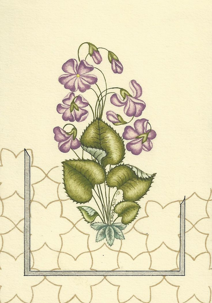 Hülya Aziz-Menekşe, 2009. #hulyaaziz #art #drawing #miniature #violet #flower