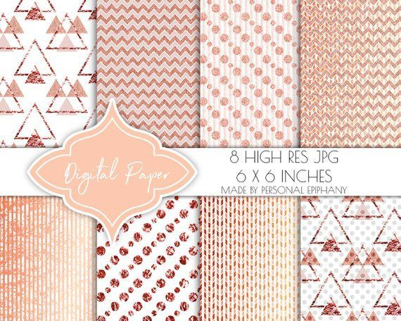 digital papers, rose gold scrapbook papers, digital paper pack, invitation jpg, …