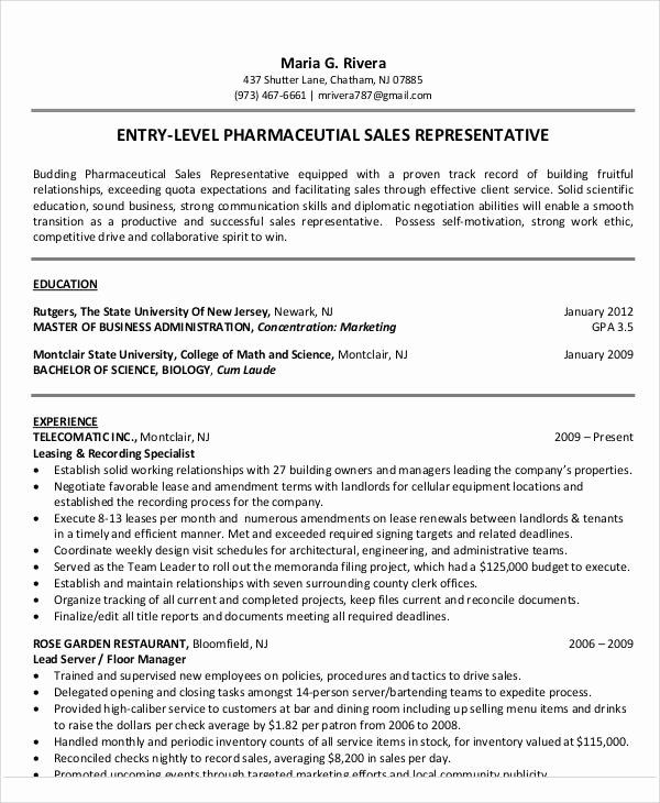 Sales Representative Resume Example 2 Inspirational 18 Sales Resume Templates In Pdf Sales Resume Examples Sales Resume Pharmaceutical Sales Resume