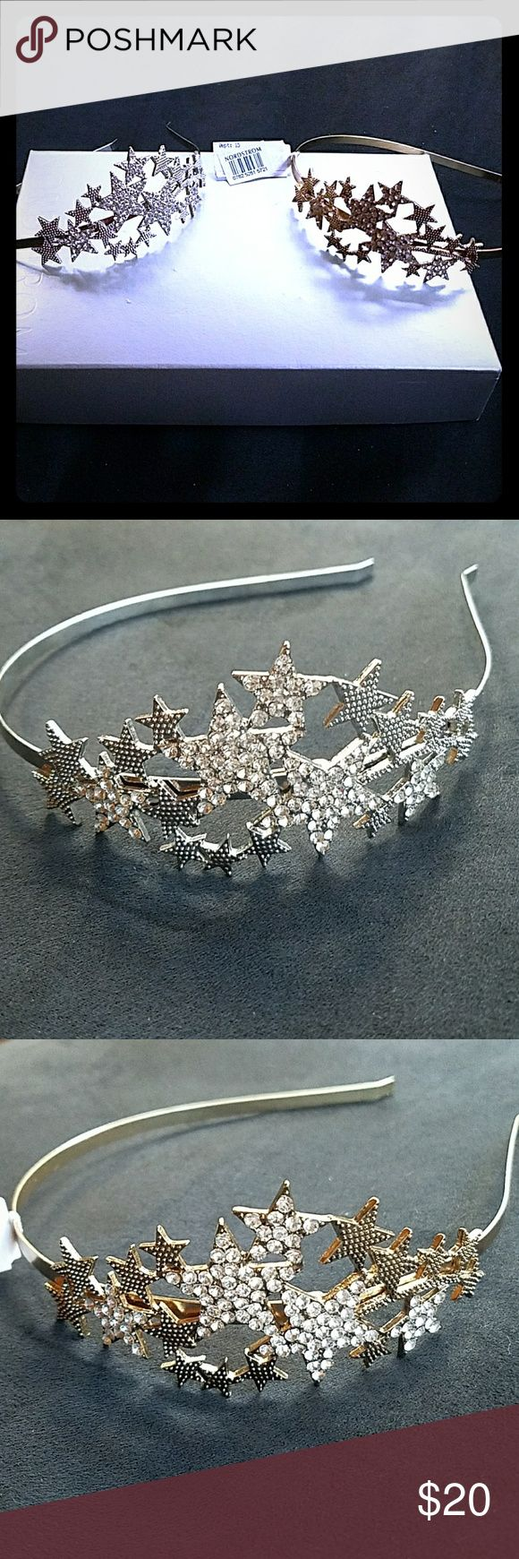 Silver & Gold star headband set Glitzy tiara-like metal headbands with rhinestone encrusted stars from Nordstrom! Can sell separately upon request! Nordstrom Accessories Hair Accessories