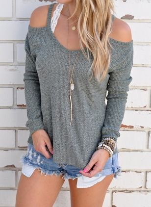 Cotton Solid Round Neck Long Sleeve Casual T-shirts & Vests (1040051) @ floryday.com