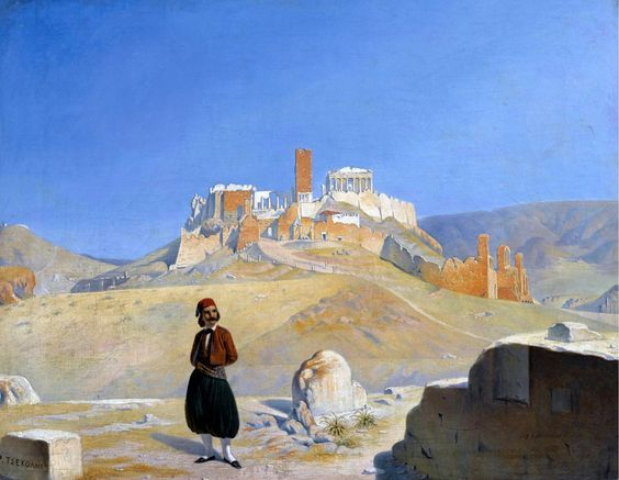Raffaello Ceccoli (1800-1850)-View of the Acropolis with the Theatre of Herodes Atticus