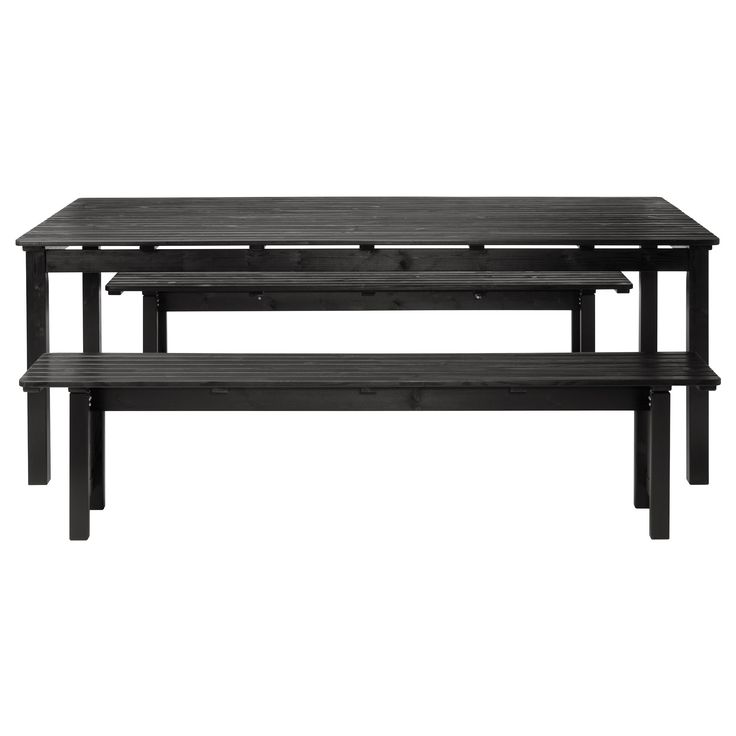 ÄNGSÖ Table and 2 benches - black-brown - IKEA