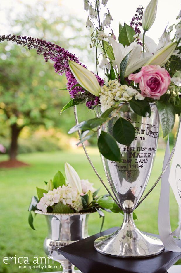 Vintage loving cup trophies as flower vases vintage wedding decor sustainable