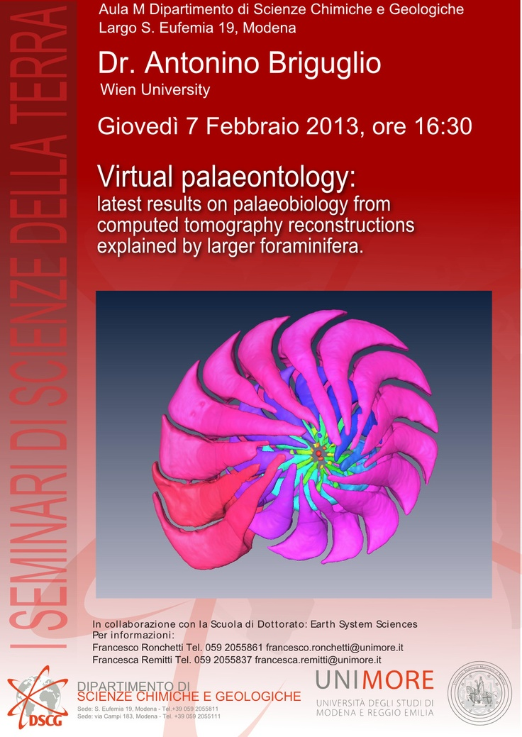 SEMINARI DI SCIENZE DELLA TERRA. Virtual palaeontology: latest results on palaeobiology from computed tomography reconstructions explained by larger foraminifera