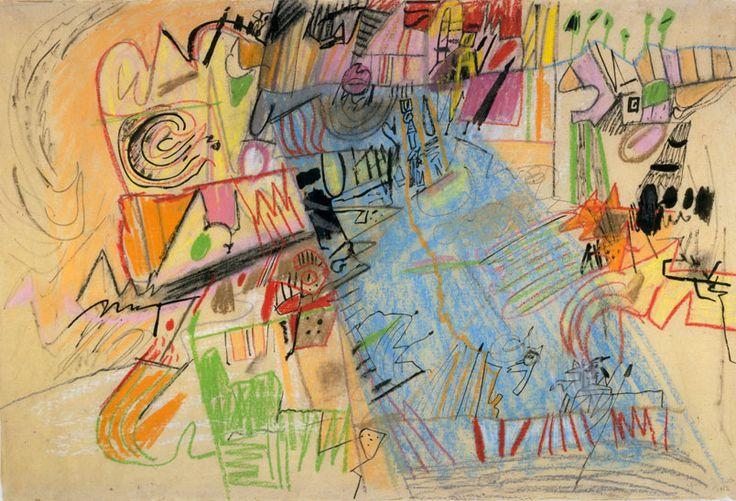 Ynez Johnston / Amusement Land, 1956, pastel and ink on paper, Smithsonian American Art Museum