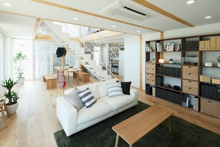 Home Design, City Living Room White Wall Sofa Stripes Cushion Wooden Floor Fur Rug Stairs Dining Table Storage With Cabinet Drawer Plant Air Conditioner And Decor ~ Inspiring Modern Japanese House for Comfortable Modern Living Place