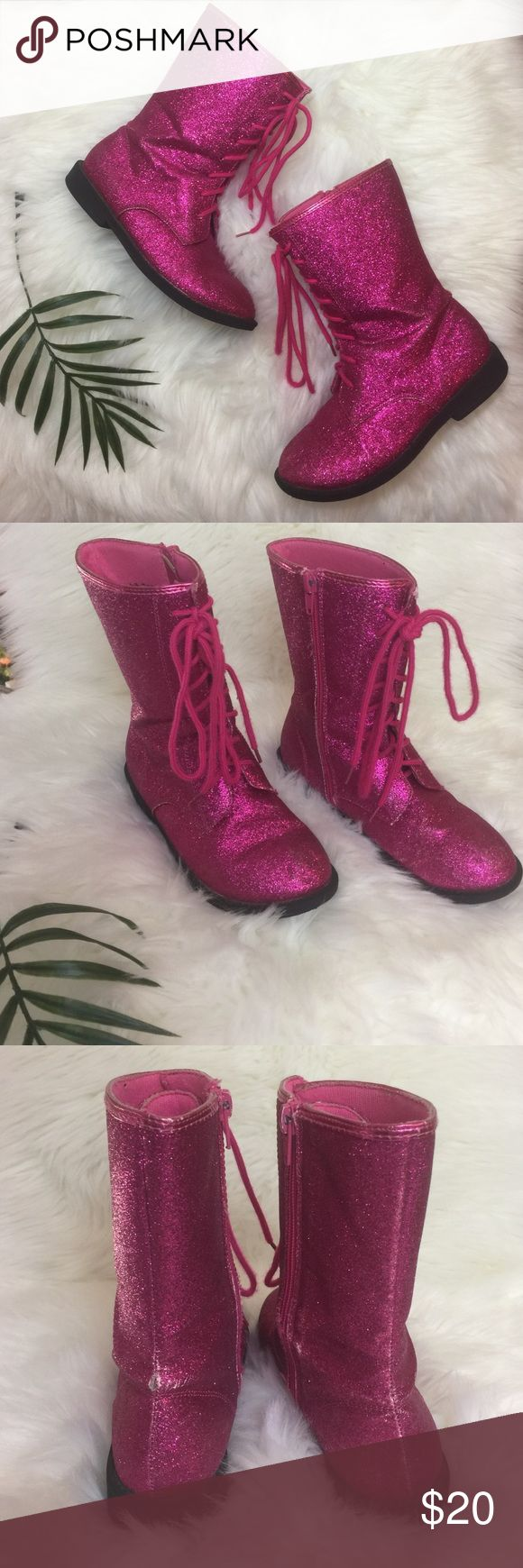 Glitter Combat Boots Hot pink sparkly lace up boots with a zipper side closure. Some wear shown in pirctures. Still good life in them. Jelly Beans Shoes Boots