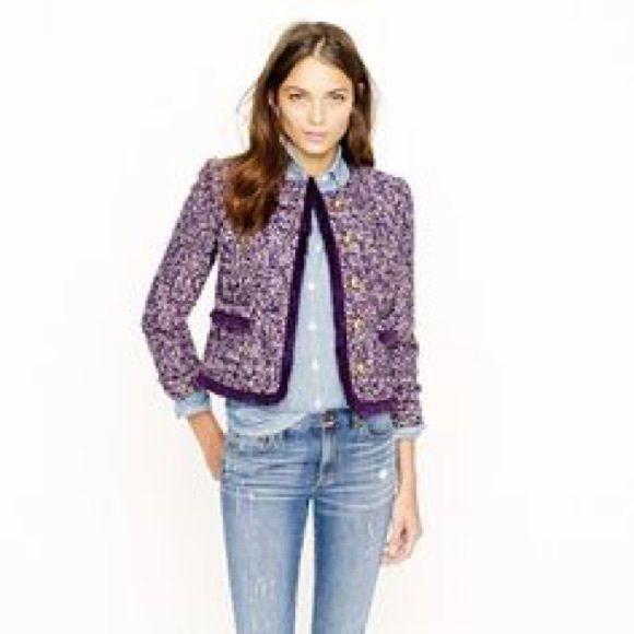 Purple Tweed Blazer Jacket Rich purple tweed Blazer Jacket -fits like 8-10 J. Crew Jackets & Coats Blazers