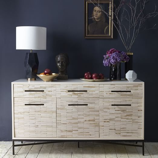 Wood Tiled Buffet. Hand-inlaid natural wood tiled drawer fronts in Whitewashed finish, three roomy drawers and three compartments. #diningroomdecor #diningroomideas #diningroombuffet dining room furniture, modern dining room, dining room sideboard | See more at http://diningroomideas.eu/category/dining-room-furniture/sideboard/