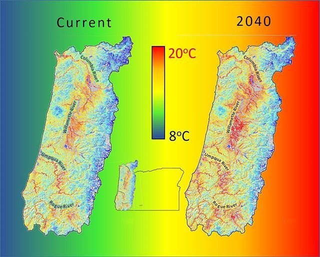 A #MyODFWTakeover by Dr. Shaun Clements -  If youre a fish avoiding the frying pan is a good thing.unless youre jumping into the fire. While it may not be not quite so dire in general we expect climate change to result in a warming of water in many of Oregons streams. For example the image shows current and projected stream temperatures in 2040 for the Willamette and Rogue River Valleys and Oregon Coast. Reds and orange colors represent warmer temperatures and blues and greens represent…