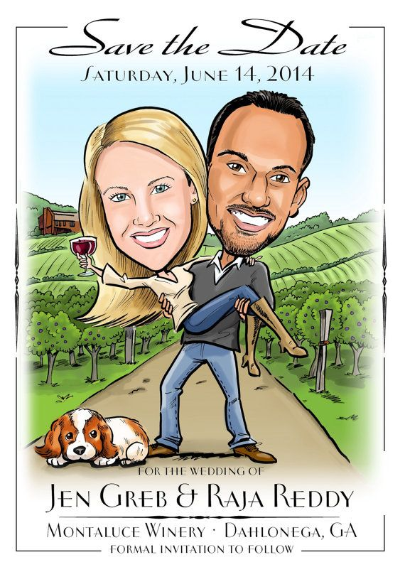 Wine and vineyard themed custom caricature save the date, invitation, or wedding poster, custom illustrated just for you.