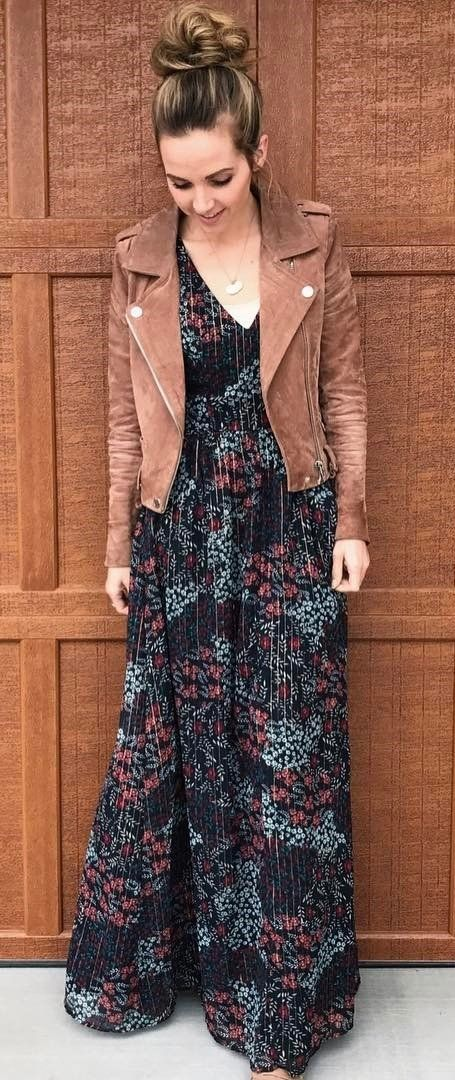 fall outfit idea_brown moto jacket and printed maxi dress