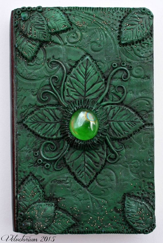 Green Nature Polymer Clay Covered Lined Notebook/Journal by Velvetorium