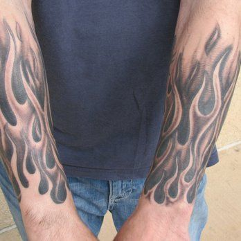 Black and grey flame half-sleeve tattoo by Steve Anderson   Yelp