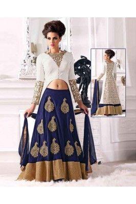 White and Navy Blue Silk and Satin Embroidered Semi Stitched Lehenga Choli Set. Ethnic fashion Womens wear