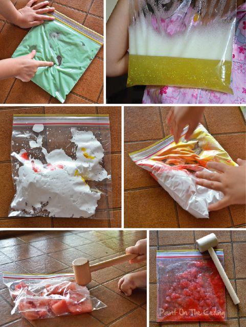 Homemade squishy sensory baggies! gak- shampoo glitter- shaving cream color- smash-it