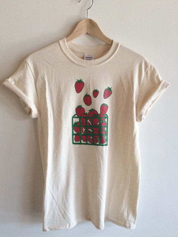 Strawberry Screen Printed T Shirt Fruit Print by andMorgan on Etsy