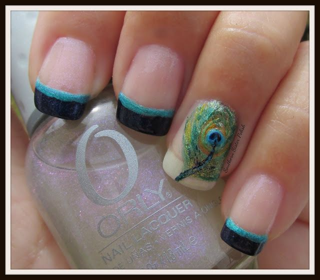 46 best nail art pattern peacock images on pinterest peacock like the design but not the ring finger prinsesfo Choice Image