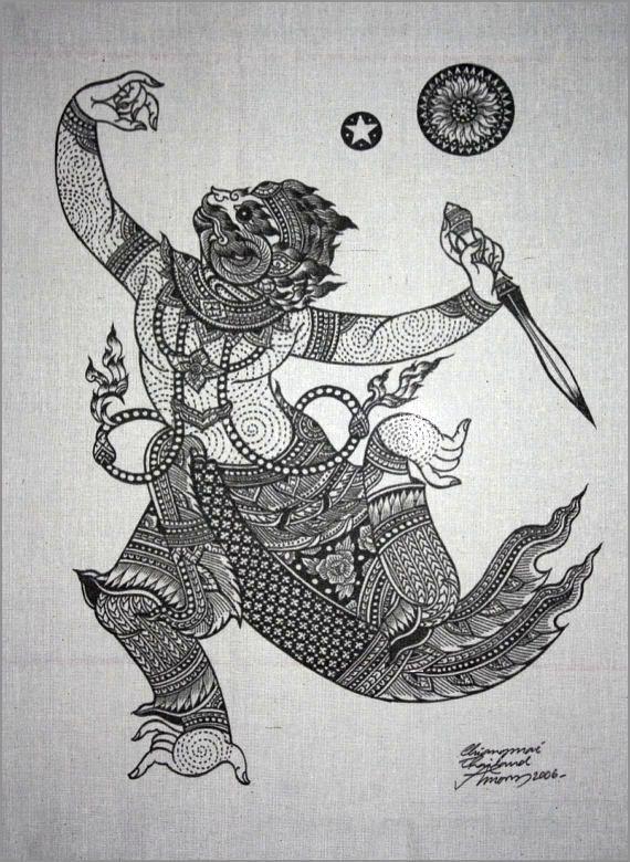 Arte tradizionale tailandese di Hanuman di di AmornGallery su Etsy